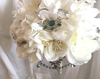 White & Emerald Green Bouquet