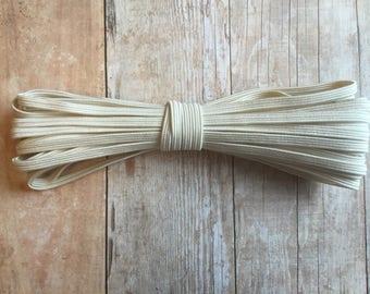 Ivory Skinny elastic, 1/8 inch elastic, 5, 10 yards, Headband elastic, DIY headband, Skinny stretch elastic, By the yard, Crafts