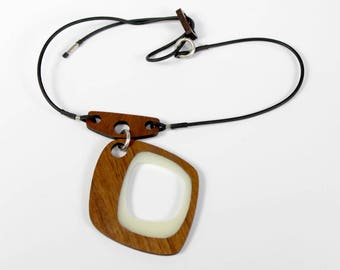 Walnut Hardwood Statement Necklace