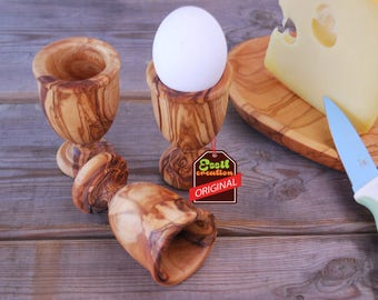 COQUETIER in olive wood Egg cups, handmade, olive wood, gift, tableware kitchen, breakfast