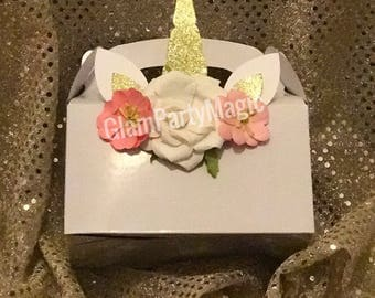 Unicorn birthday party favor boxes