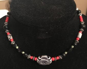 Black and red choker