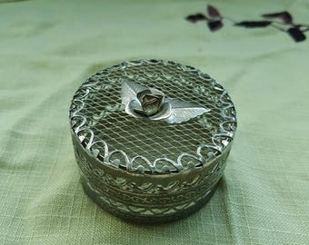 Metal Jewelry Box, Vintage 1950s Silver Filigree Jewelry Box with Rose Detail, Small Round Trinket Box, Mid Century Decor on sale