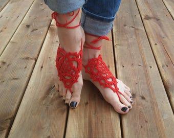 Crochet barefoot sandals - Cherry red