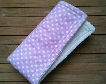 Purple Polka Dot Burpie | Burp Cloth | Baby Blanket | One Piece | About 20in × 20in