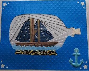 Iris Folding Ship Greeting Card