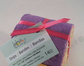 Bright Colours Jelly Roll Fabric 14 Pack / Bundle 100% cotton