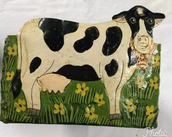 Metal Basket, Cow Can, Cow Tin, Cow Container, Metal Can, Rustic Decor