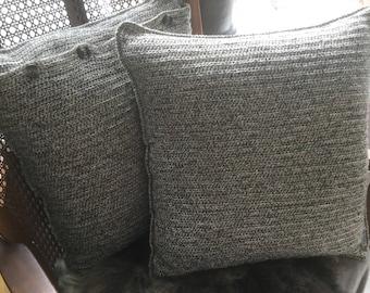 Hand made/crochet pillow naturel ca 40 x 40 cm