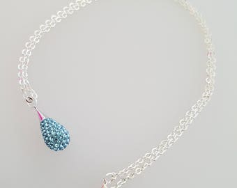 Turquoise Swarovski Crystal Droplet Pendant