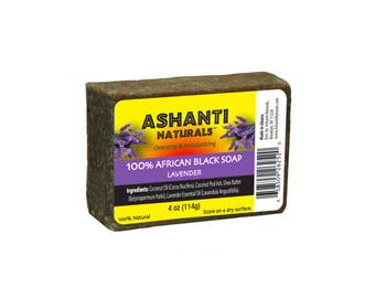 100% African Black Soap Bar - Lavender