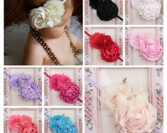Baby Girls Flower Headband Pearl and Rhinestone Hairband Hair Accessories