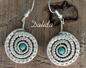 Dalida - Handmade wire-wrapped silver-plated and Swarovski element pair of earrings