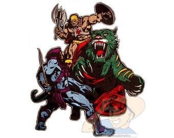 He-man & Battlecat vs Skeletor Embroidered Big Patch for Back MOTU Masters of the Universe