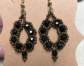 Handcrafted bead earrings with round chinese crystals