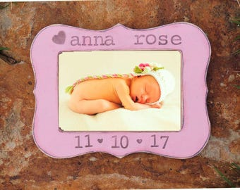 Newborn baby Girl picture frame New parents gift New Mom Gift First Mother's Day personalized picture frame Nursery decoration