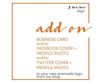 Add-on Business Card,  Premade Business Card Template, Business card design, Facebook cover design, Twitter cover design