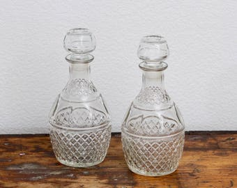 Glass Decanters With Crown and Grapes Etching