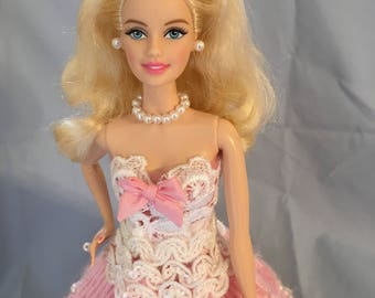 Hand made pink ball gown Barbie doll