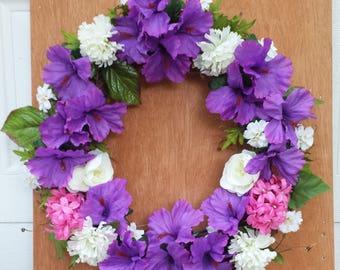 Beautiful Purple Hibiscus Silk Floral Wreath