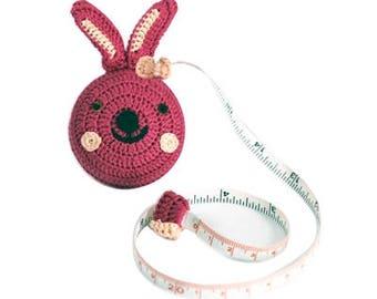 Cute Pink Bunny Crochet Retractable Tape Measure, Unique Gift, Cute Animal