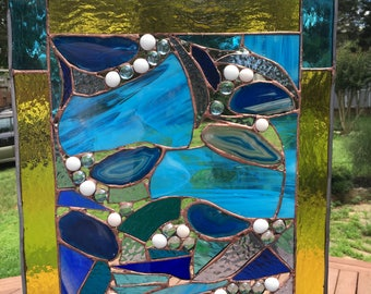 Stained Glass Square Panel of Glass and Agate