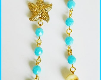 Gold Starfish earrings and turquoise mezzicristalli