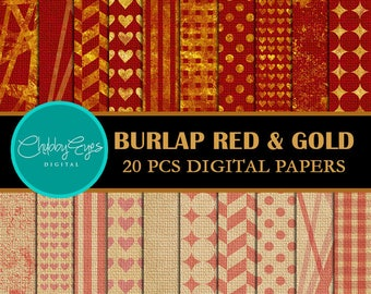 Burlap Red and Gold Digital Papers , Scrapbook Papers, Linen Papers- Instant Download