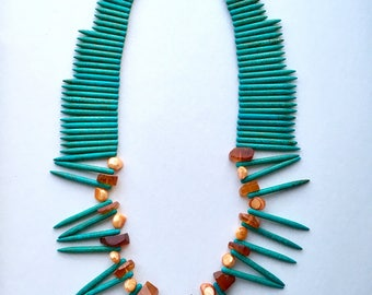 Turquoise Spike Necklace with Amber & Baroque Pearls - Beaded Necklace