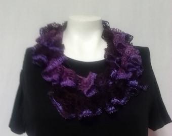 Purple Ruffle Scarf - Single Layer