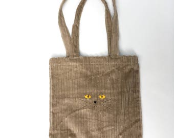 Brown Cat Furry Tote
