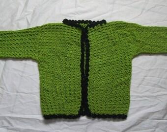 Crochet Moss Green Short Sleeves Sweater size M