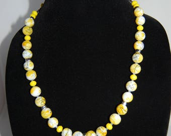 Round beads necklace, Czech glass, single strand