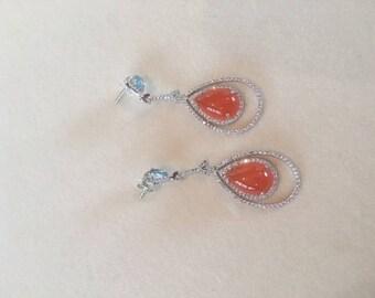 Silver Orange Chalcedony Blue Topaz CZ
