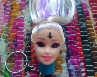 Goth Barbie Head LED Keychain