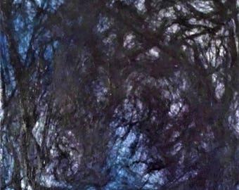 Silk Wall Hanging - Fiber Wall Hanging - 12 x 12 Wall Art - Abstract Art - Blue - Purple