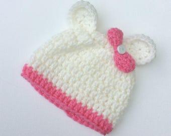 Baby Girls White Crochet Polar Bear Pink Bow Beanie Hat