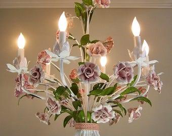 Vintage Italian Tole Chandelier with Ceramic Porcelain Roses