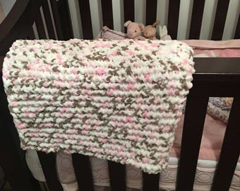 Large Crocheted pink, grey and white baby blanket