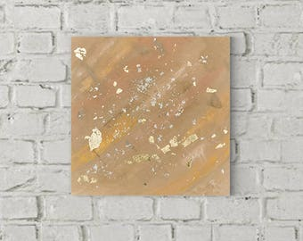 50x50cm acrylic on canvas in the main colors Brown, beige kind, gold plated with gold leaf