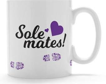 Sole mates mug. Running mug. Running friends. Running mates. Running gift for her. Mug for running friends. Running buddies.
