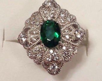 Vintage Emerald Quartz & white Topaz Sterling Silver Gemstone Ring, 3 ct. - Size 7