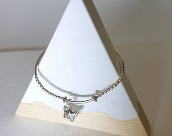 925 Sterling Silver Charm bracelet with Butterfly Charm, Stretch Bracelet, Layered Bracelet