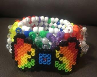 Rainbow Bow 3D kandi cuff