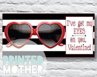 Eyes on You Valentine Sunglasses Printable Card