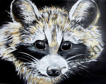 Raccoon, paint, ink and gouache gold, Original, Wash-off, animal, nature
