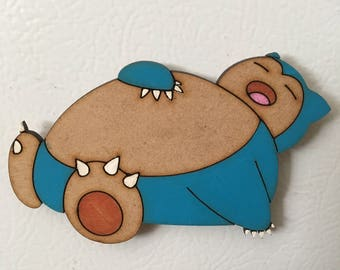 Wooden Snorlax Magnet