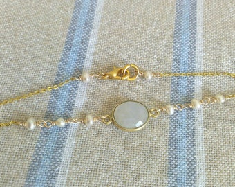 Moonstone and Pearl Beads Bracelet