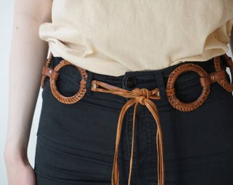 Vintage Boho Leather Frayed Ring Belt