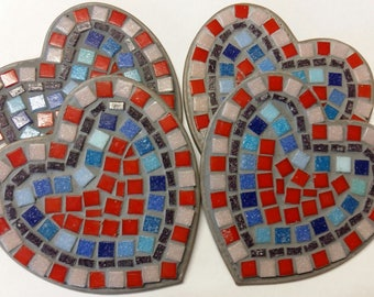 Mosaic heart coasters